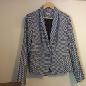 Woman's Houndstooth Print Notched  Collar Blazer